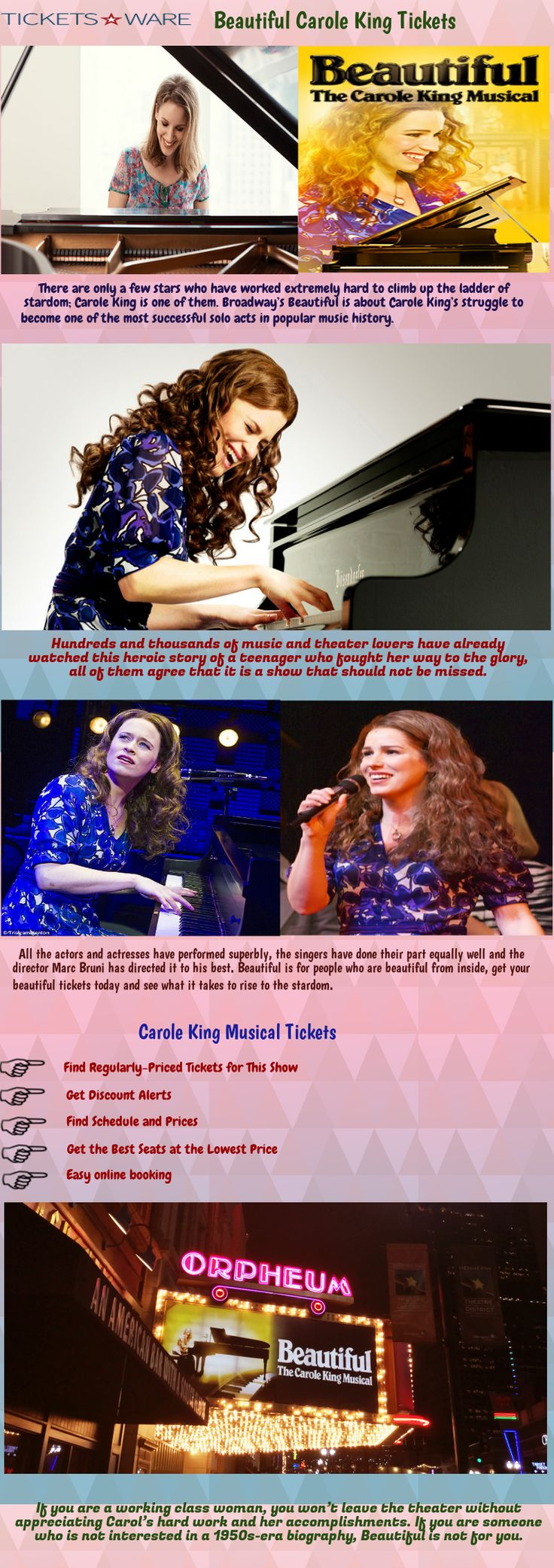 There are only a few stars who have worked extremely hard to climb up the ladder of stardom; Carole King is one of them. Broadway's Beautiful is about Carole King's struggle to become one of the most successful solo acts in popular music history. Visit Us https://www.ticketsware.com/beautiful-the-carole-king-musical-tickets