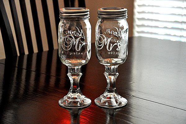 Wedding Redneck Wine Glass Mr and Mrs Toasting Mason Jar Hillbilly Wine Glasses. $30.00, via Etsy.