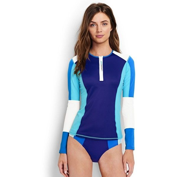 Lands' End Sport Women's Half Zip Rash Guard (1.468.285 VND) ❤ liked on Polyvore featuring swimwear, blue, swim suits, sports bathing suits, sport swimsuits, beach swimwear and blue swimsuit