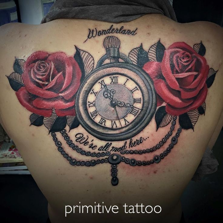 Roses and clock (alice in wonderland) by Bobbi @ Primitive Tattoo Studio Perth on 126 Barrack street Perth. (08) 9 221 8585 / 0488 828 866 tattoo@primitivetattoo.com www.primitivetattoo.com