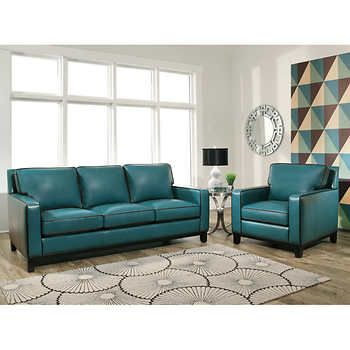 laguna top grain leather set includes sofa u0026 chairloose seat u0026 back pipingby abbyson living