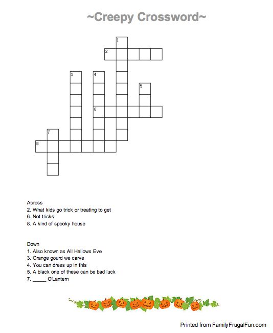 print off for next year halloween crossword puzzle for kids free printable - Halloween Crossword Puzzles With Answers