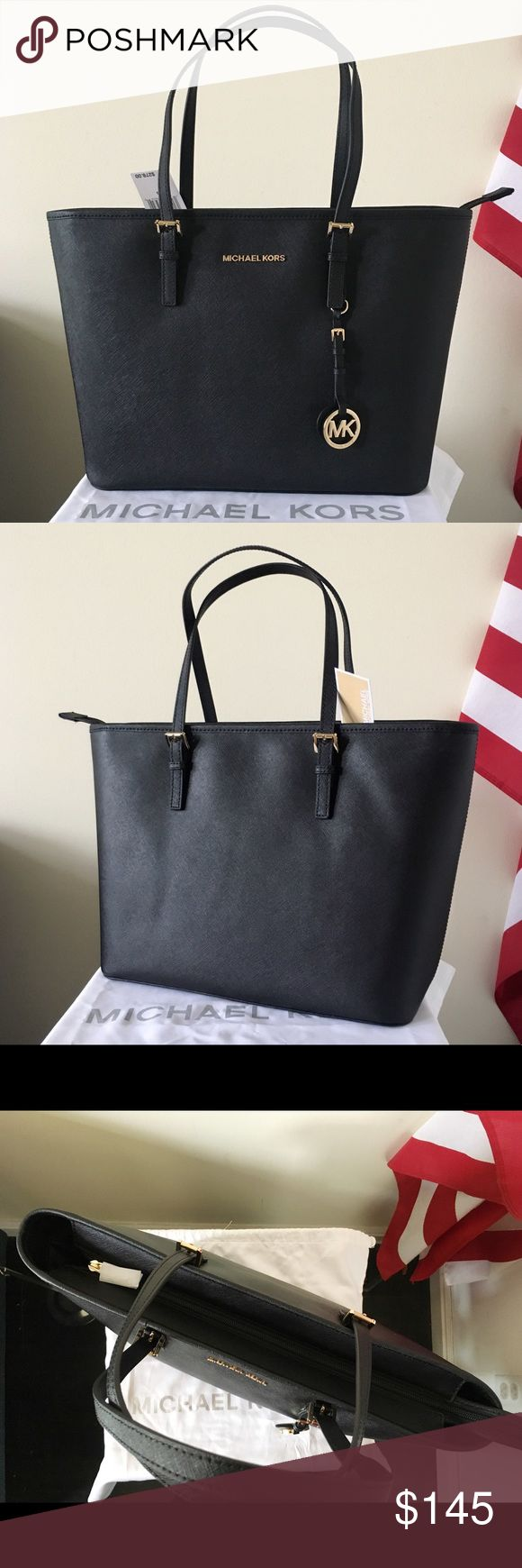 NWT Michael Kors TZ Black Tote Classic tote. Great for all occasions. Saffiano leather. Zipper closure. New with tags. Authentic.  Measurement: 17*10.5*6.5 inch  Dust bag and paper shopping bag are included Michael Kors Bags Totes