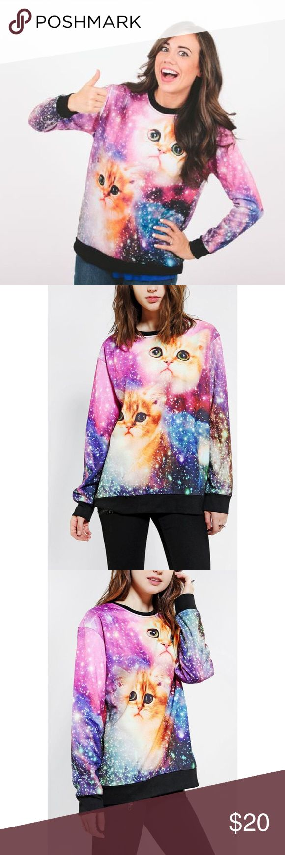 NEW Urban Outfitters Galaxy Cat Sweater NEW Urban Outfitters crew neck sweater. You're most likely already super awesome, so take it to the next level with this gem. It is an oversized fit, so perfect with leggings or a mini and some funky tights. Urban Outfitters Sweaters Crew & Scoop Necks