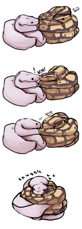 "minibotparty: ""thedoomie: ""after looking at this picture: http://danielle-darling.tumblr.com/post/2949908166 this little drawing came of snakes smooch.. :I "" daggerjaw "" DIS US"