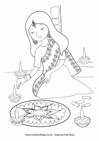 Rangoli Coloring Pages for studying India