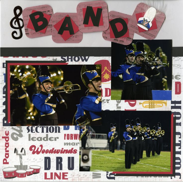 Scrapbook layout from eriks sr scrapbook album marching band this is the first