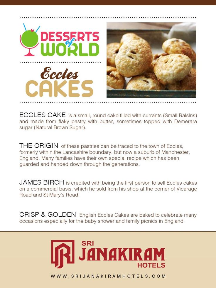 Eccless Cakes - Eccles cakes are one of Britain's most famous sweet treats. Enjoy the crisp infos about the eccless cakes.