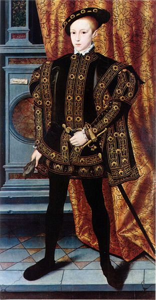 Edward VI of England, c. 1550. The only legitimate son of Henry VIII, he only ruled from Jan 28, 1547-July 6, 1553. He died from an unknown respiratory illness, possibly lung cancer. His older sister, Mary I (Bloody Mary), succeeded him to the throne.