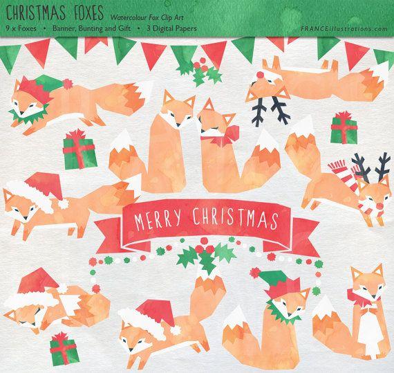 3 for 2 fox christmas clip art watercolor clipart xmas clip art borders xmas clipart free download