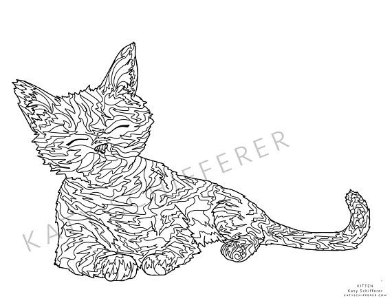 Kitten Zentangle Pattern Coloring Page For Adults Pattern Coloring Pages Zentangle Patterns Coloring Pages