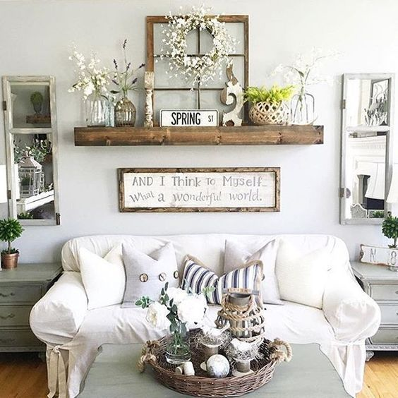 Creates a mantel of sorts, for those of us that don't have a fireplace. Creative Ways to Decorate Above Sofa
