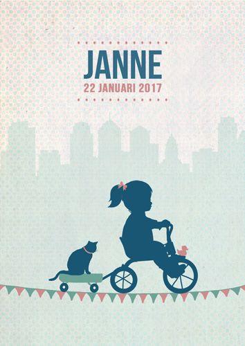 Geboortekaartje Janne - Pimpelpluis - https://www.facebook.com/pages/Pimpelpluis/188675421305550?ref=hl (# meisje - fiets - poes - kat - karretje -  driewieler -  vlagjes - eendje - skyline - vrolijk  - retro - vintage - silhouet - lief - origineel)