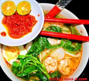 Prawn Mee Prawn broth, yellow noodles, egg, fresh prawns and kangkung; accompanied with chilli dip.