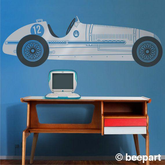 Rennen-Auto-Vinyl-Wand-Aufkleber, Maserati Aufkleber Wandkunst, Oldtimer-Rennwagen, Retro-grand-Prix, versandkostenfrei