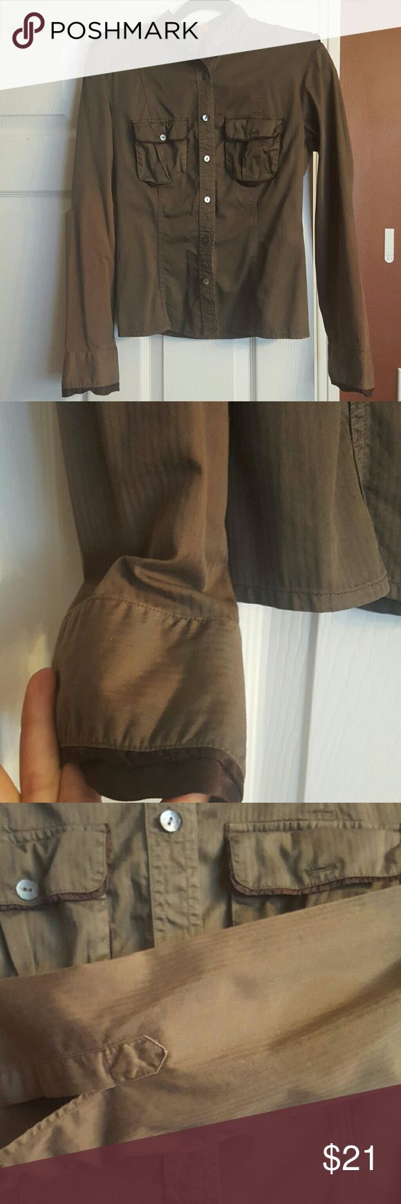 micro herringbone olive brown shirt Missing one pocket button and sleeves have faded color. Military style with shoulder epaulettes and satin lined cargo pockets, ruffle at sleeve hem. Mother of pearl buttons. Boss Hugo boss orange label. BOSS ORANGE Tops Button Down Shirts