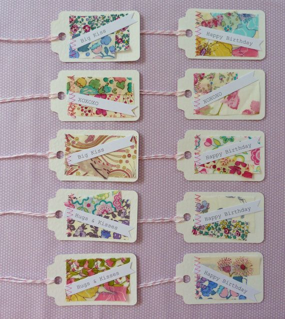 Tag pack  10 pretty fabric scrappy tags  Liberty by SewSweetViolet, £4.90