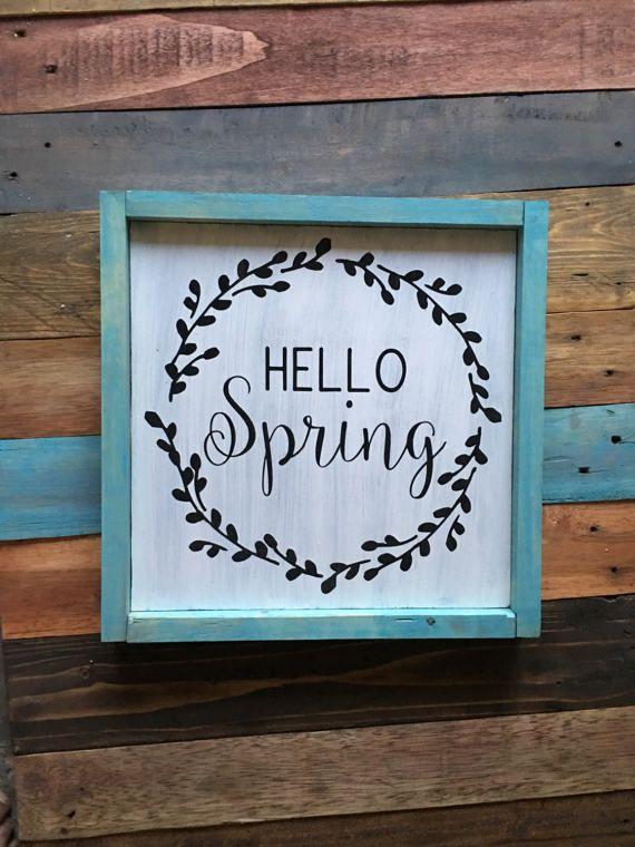 Hello Spring Wreath Wood Sign Decor Farmhouse Rustic