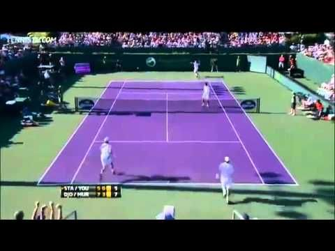Incredible doubles tennis point - Djokovic & Murray vs Stakhovsky & Youhzny