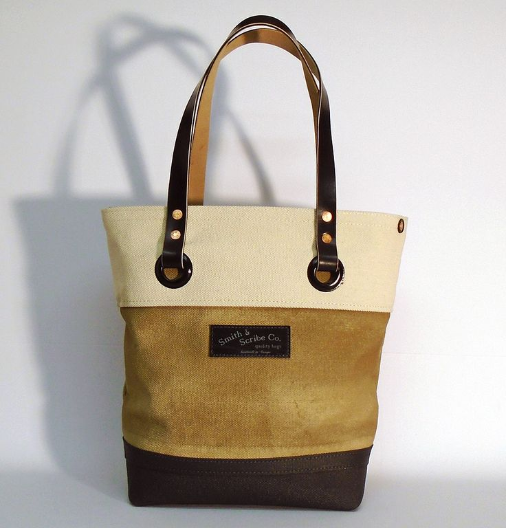 """Hand dyed cotton canvas tote bag - sand with black leather strap ● Size: 5,5"""" x 11"""" x 14,2"""" - American ●  14 cm x 28 cm x 36 cm - European ●  In case of order, please contact us with the following e-mail address: info@smithandscribeco.com #cottoncanvas #totebag #handmadeineurope #handmade #bag #1920's #1930's #1940's #italianleather #premiumingredients"""