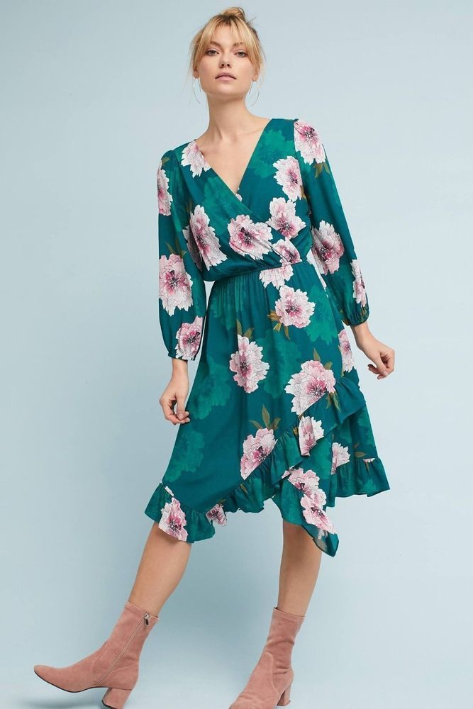 10f1a6448900 NWT Anthropologie by Plenty by Tracy Reese Aleah Dress Green Sz M  #TracyReese