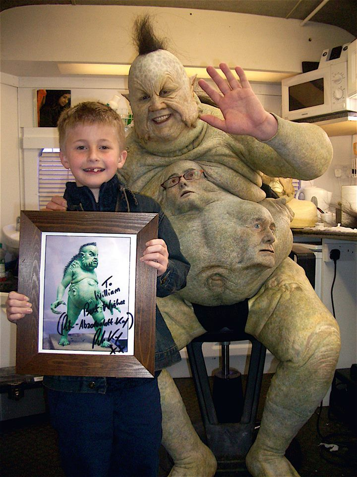 "Nine year old William Grantham won Blue Peter's ""Design a Doctor Who Monster"" contest...here he is with Peter Kay as the Abzorbaloff from ""Love and Monsters.- this makes a LOT more sense now..."