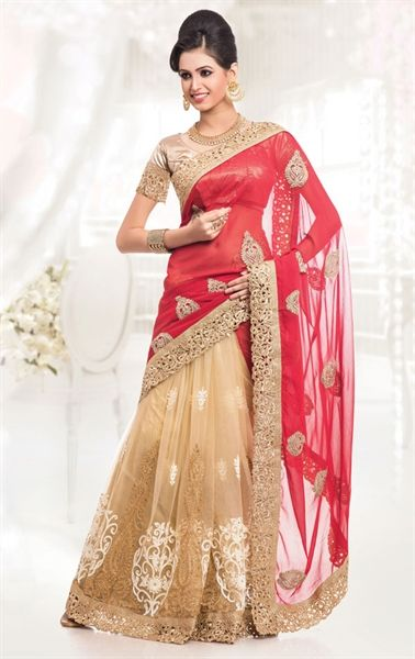 Picture of French Beige and Crimson Color Saree With Beautiful Embroidered Pallu