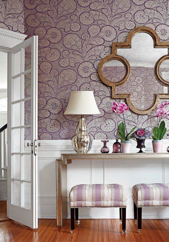 trobadour wallpaper (thibaut) in plum