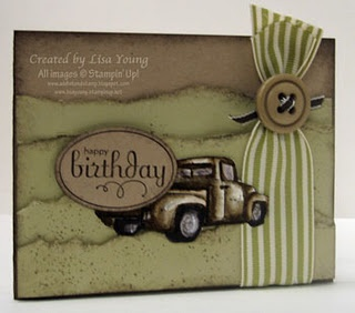 Masculine Birthday Card... Clever way to disguise the apples in the back of the Stampin' Up! Truck!