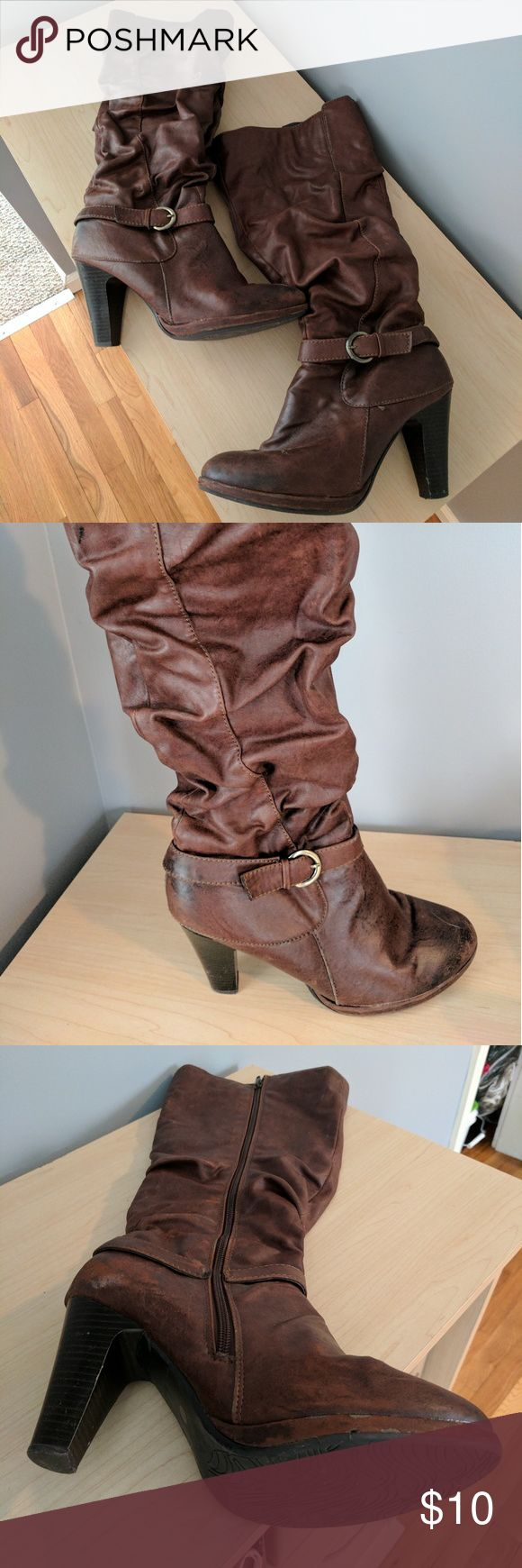 Brown below the knee boots Brown Heeled boots with buckle detail and inside zipper. Perfect with a pair of jeans Shoes Heeled Boots