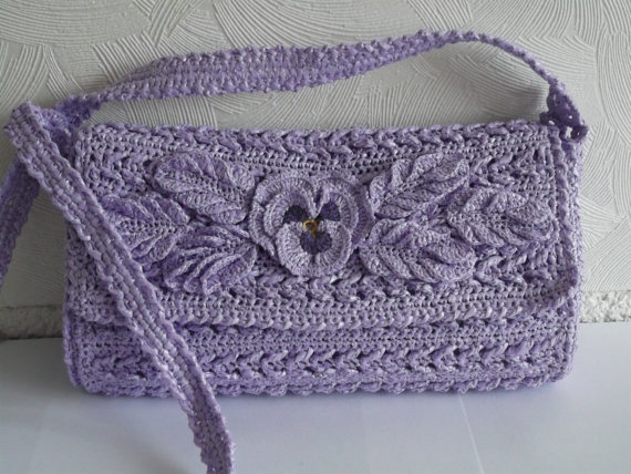 Lavender Crochet Tote Purse Woven Handbag Women Lady by Gaitaly2, $39.90