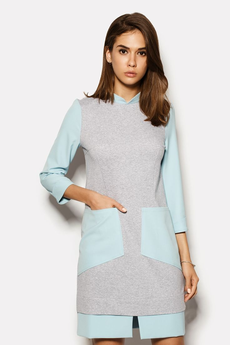 Купить короткое серое платье ELIAS с голубой отделкой