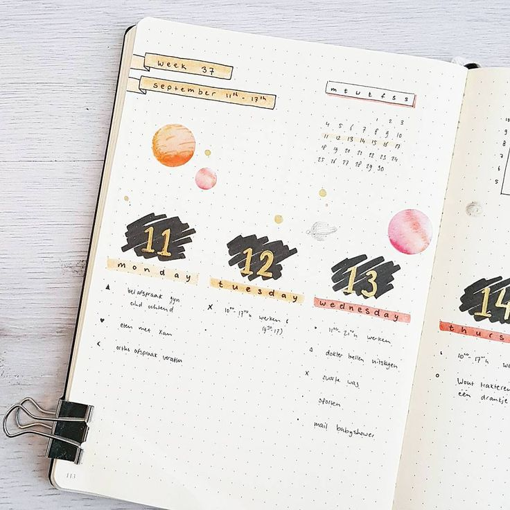 1,506 vind-ik-leuks, 35 reacties - JOOS | Bullet Journal (@bu.joos) op Instagram: 'S E P T E M B E R // weekly Experimenting with vertical days. Not sure about the black and gold day…'