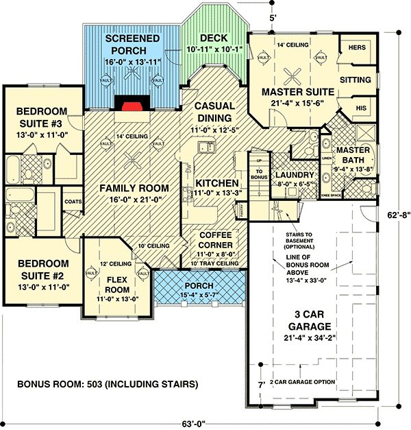Plan 20066ga traditional home with exquisite master suite for 3 car garage plans with bonus room
