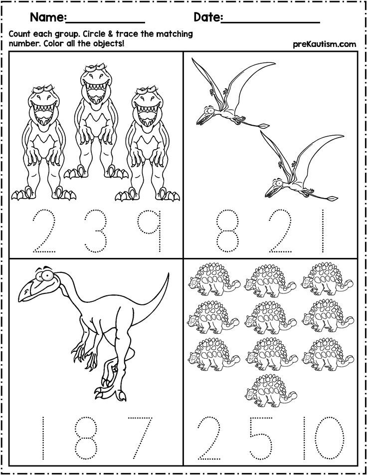 Dinosaur Count & Number Write Writing Numbers, Numbers Preschool, Autism  Math