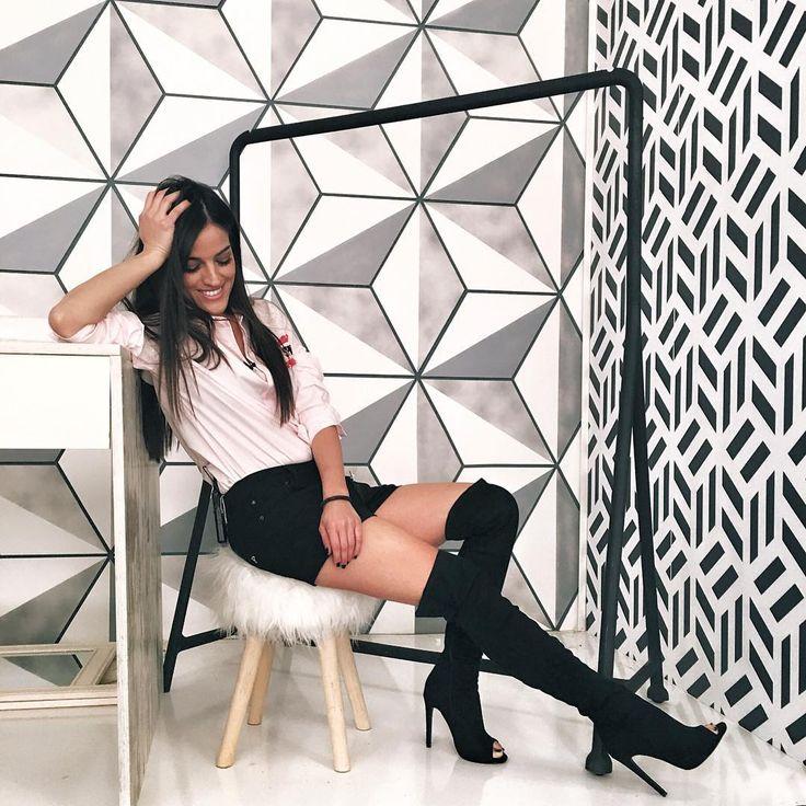 Sexy Sofia Tountouri in #MIGATO ST8945 peep toe over-the-knee boots!  Shop link ► bit.ly/ST8945-L14en