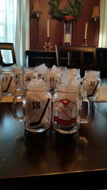 Hockey Mason Jar Mugs. Shirt on front,  stick and number on back.