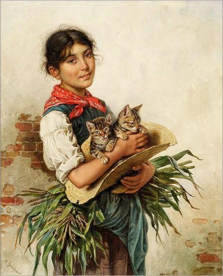 Heinrich Reinhart (1829-1914), Δύο γατάκια