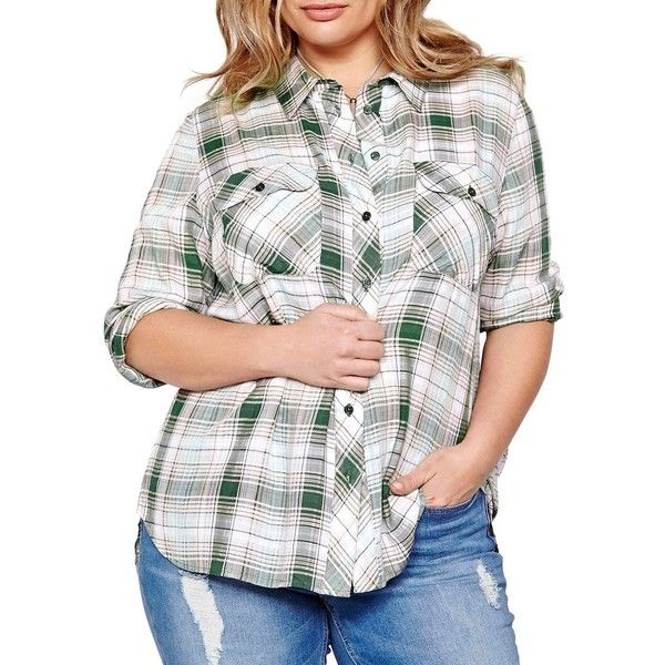 Addition Elle Love And Legend Hi-Lo Plaid Shirt ($51) ❤ liked on Polyvore featuring tops, beige, round top, long-sleeve shirt, round collar shirt, long sleeve shirts and white shirts