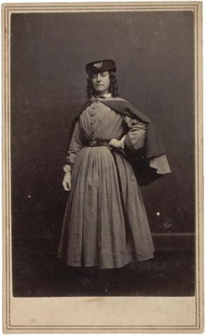 Vivandieres, sometimes known as cantinieres, were women who followed the army to provide support for the troops. Ideally, a vivandiere would have been a young woman—the daughter of an officer or wife of a non-commissioned officer—who wore a uniform and braved battles to provide care for wounded soldiers on the battlefield.