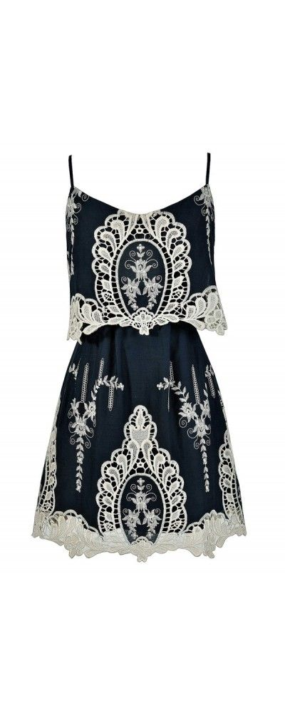 Macrame Antique Lace Navy and Beige Designer Dress https://www.lilyboutique.com ~SheWolf★