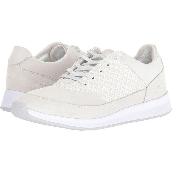 Lacoste Joggeur Lace 416 1 (Off-White) Women's Shoes (€69) ❤ liked on Polyvore featuring shoes, white, off white shoes, lace shoes, round cap, laced shoes and lace up shoes