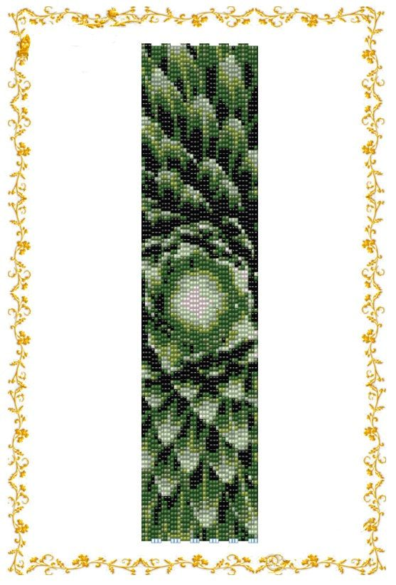 Beading pattern Bracelet. Even count 3 drop peyote pattern. Cuff. Pattern for Delica 11    length: 7,6 inches (rows110)  width: 1,9 inches