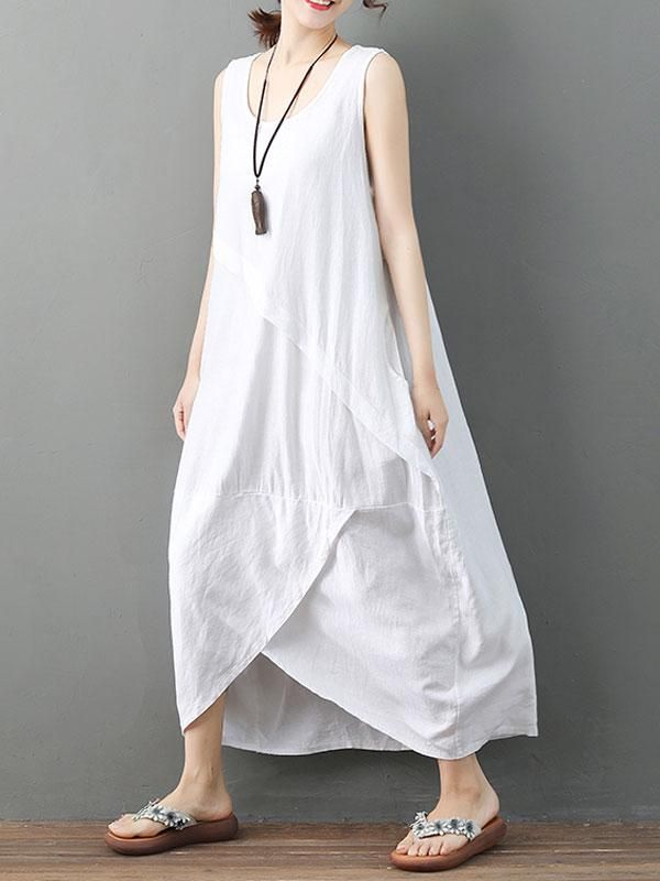 6d7b9f69a8 Sleeveless Asymmetrical Solid Color Linen Dress – NORACORA