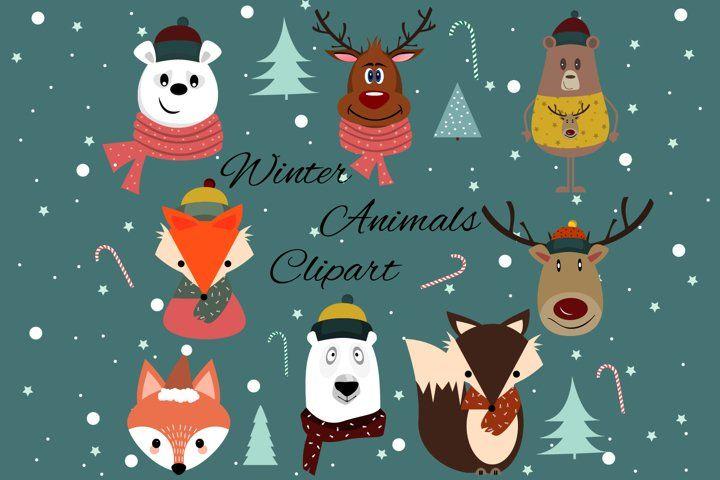 Winter Animals Clipart Christmas Animals Graphics 384107 Characters Design Bundles Christmas Animals Winter Animals Animal Clipart