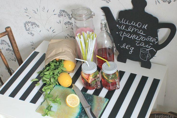 В продолжение кухонной темы предлагаю гранатовый чай с лимоном и мятой