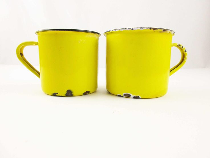 Two Bright, Sunshine Yellow Mugs - Yellow With Black Rims, White Interiors - Japan and Hong Kong - Vintage Use - Farmhouse Chic by TheBrownSuitcase on Etsy
