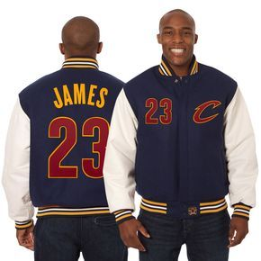 LeBron James Cleveland Cavaliers JH Design Domestic Player Wool & Leather Jacket - Navy