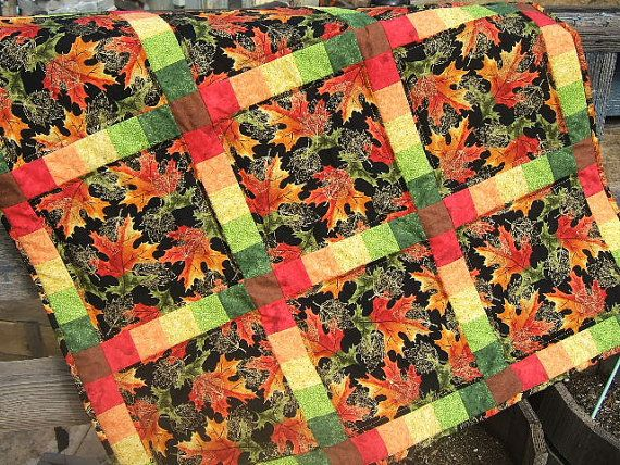 Autumn Leaves Quilt Fall Leaves Leaves Quilt by QuiltedPleasures, $85.00 The First Entrant into the August Quilt of the month Contest! How gorgeous!