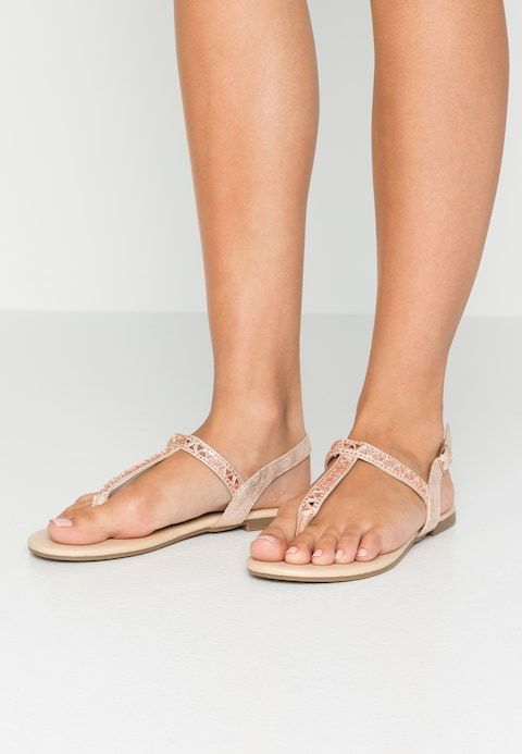 pretty nice e2ad1 95209 DIAMONTE - T-bar sandals - antique gold @ Zalando.co.uk ...